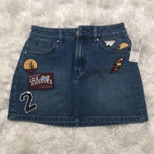 NWT Pac Sun Denim Patch Skirt